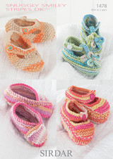 Babies to baby Girls Shoes and Slippers DK Knitting Patterns using Sirdar Smiley Stripes, Pattern Number 1478 - Main image
