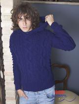 Invidia Pullover / Jumper Knitting Pattern   Adriafil Mirtillo Chunky Knitting Yarn   Free Downloadable Pattern - Main Image