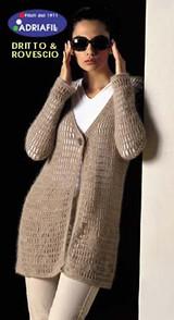 Ladies Net Long Cardigan | Adriafil Kid Mohair & Odeon Knitting Yarn | Free Downloadable Pattern - Main Image