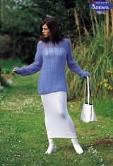 Long Sleeved & Slightly Raised Neck Pullover | Adriafil Kid Mohair Knitting Yarn | Free Downloadable Knitting Pattern - Main Image