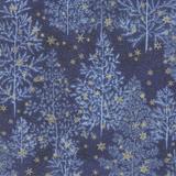 Forest Frost Glitter | Moda Fabrics | 33520-17MG | Pine Trees Night Blue