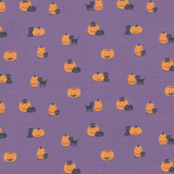 Ghouls and Goodies | Stacy Iest Hsu | Moda Fabrics | 20684-17 | Pumpkin Kitten Purple