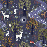 Nighttime in Bluebell Wood | Lewis and Irene | A474.2 | Glow in the Woods Midnight Blue