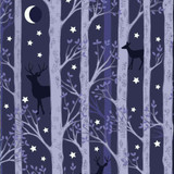 Nighttime in Bluebell Wood | Lewis and Irene | A478.3 | Forest Deer on Midnight Blue