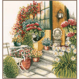 Lanarte | Counted Cross Stitch Kit | Terrace in Autumn Bloom - Main Image