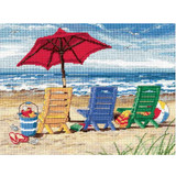 "Beach Chair Trio Needlepoint Kit 16""x12"" Stitched In Wool & Threa"
