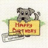 Mouseloft Stitchlets Mini Cross Stitch Kits | Happy Birthday Dog with Card
