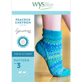 Peacock Chevron Socks Knitting Pattern | Signature Style 4 Ply Knitting Yarn WYS56992 | Digital Download - Main Image