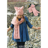 Girl's Hat, Scarf and Mittens Knitting Pattern | Sirdar Supersoft Aran 2428 | Digital Download - Main Image