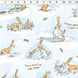 Guess How Much I Love You 2020 | Clothworks | CWY3085-87 Nutbrown Hare Winter Scenes and Text on Blue (Flannel)