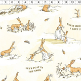 Guess How Much I Love You 2020 | Clothworks | CWY3085-58 Nutbrown Hare Winter Scenes and Text on Cream (Flannel)