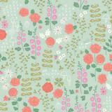 New Dawn | Riley Blake | C9851-Mint | Cottage Garden Flowers on Mint