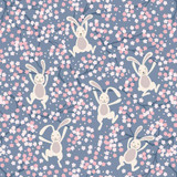 Bunny Hop | Lewis & Irene | Swinging Bunnies on Denim Blue | A526.3