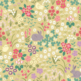 Bunny Hop | Lewis & Irene | Bunny & Chick Floral on Spring Yellow | A530.1