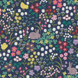 Bunny Hop | Lewis & Irene | Bunny & Chick Floral on Dark Blue | A530.3
