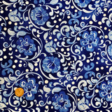 Hungarian Blue   Clothworks Fabrics   Dark Blue Large Floral   Y0591-31   1.5m REMNANT FABRIC - Please see penny for size reference
