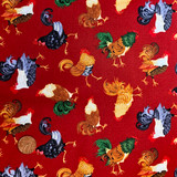 Farm Raised | Henry Glass & Co. Fabrics | Tossed Chickens - RED | 1977-88 | HALF METRE UNITS - Please see penny for size reference