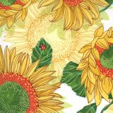 Solana   Robin Pickens   Moda Fabrics   48680-11 Sunflowers on Cream   0.75m Remnant