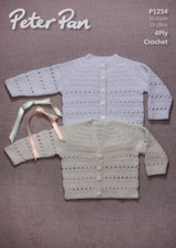4ply Pattern for a Babies / Childs Crochet Cardigans - Peter Pan 4ply 1254