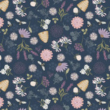 Queen Bee | Lewis and Irene | A504.3 Bee Floral on Dark Blue