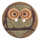 Wooden Owl Button | 2 Hole Painted Wood Effect | 30mm