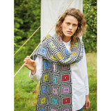 Rowan Black & White Boxes Scarf Womens Knitting Pattern using Felted Tweed | Digital Download (ZB279-00007) - Main Image