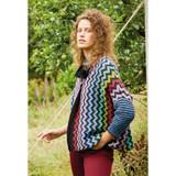 Rowan Black Multicolour Zig Zag Jacket Womens Knitting Pattern using Felted Tweed | Digital Download (ZB279-00008) - Main Image