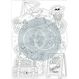 Sandy Paws Sand Castle Clear Stamp Set | Helz Cuppleditch | Craft Consortium - the stamp outlines
