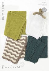 Blankets Knitting Pattern | Sirdar Hayfield Baby Chunky 4401 | Digital Download - Main Image