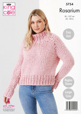 King Cole Rosarium Mega Chunky Round Neck and Stand Up Neck Jumpers Knitting Pattern | 5754