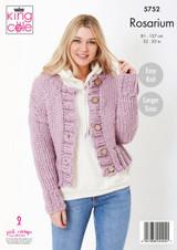 King Cole Rosarium Mega Chunky Round and V Neck Cardigans Knitting Pattern | 5752