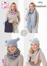 King Cole Rosarium Mega Chunky Hats, Snoods, Wrist-warmers, Scarf and Bag Knitting Pattern | 5755