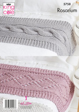 King Cole Rosarium Mega Chunky Blankets and Bed Runners Knitting Pattern | 5758
