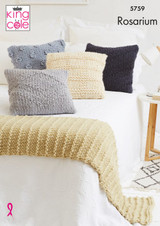 King Cole Rosarium Mega Chunky Cushions and Bed Runner Knitting Pattern | 5759