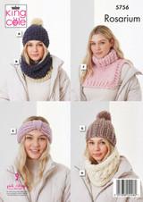 King Cole Rosarium Mega Chunky Hats, Snoods, Headband and Polo Neck Knitting Pattern | 5756