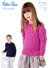 DK Pattern for Childrens Lacy Sweater and Cardigan - Peter Pan Moondust DK 1168
