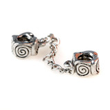 Swirl Design Double Charm Bead with Safety Chain