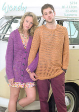 Mens and Ladies loose Cardigan & Sweater Pattern   Wendy Supreme Cotton Chunky 5774