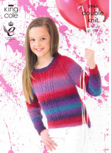 Girls Cabled Sweaters DK Knitting Pattern   King Cole Riot 3946