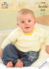 Crocheted Sweater, Cardigan and Waistcoats DK Pattern | King Cole Comfort DK 3250