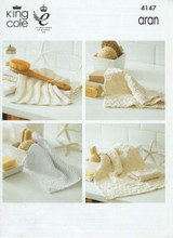 Recycled Cotton Aran Pattern for Face Cloths, Hand Towels, Dish Cloths and Oven Mits - King Cole 4147