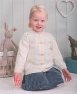 DK Pattern for Childrens' / Babys' Cabled Yoke Cardigan - Peter Pan DK 1219