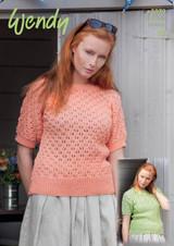 Short Sleeved Lace Tops DK Knitting Patterns    Wendy Supreme Cotton DK 5979
