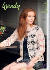 DK Crochet pattern for a motif cardigan in Wendy Luxury Supreme Cotton Silk   Pattern Number 5977