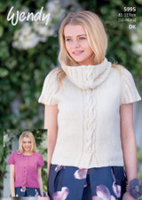 Dk Pattern for Cap Sleeve Sweater and Cowl | 5995 | Wendy Fleur Dk