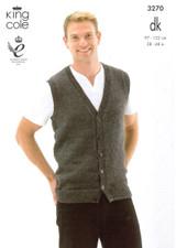 Gents Slipover and Waistcoat DK Pattern | King Cole Merino DK 3270