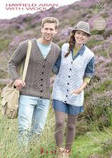 Cabled Adults Cardigan & Waistcoat Aran Pattern | Hayfield Aran 7064 - Main Image