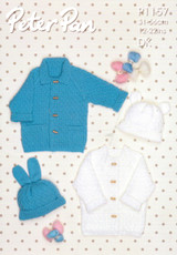 Coats and Hats with Ears DK Knitting Pattern   Peter Pan DK 1157
