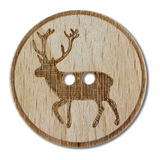 Wooden Buttons with Stag Design | Various Sizes - Main Image