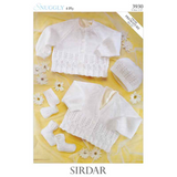 Baby Hat, Cardigan, Mitts & Booties 4 Ply Knitting Pattern | Sirdar Snuggly 4 Ply | 3930 - Main Image
